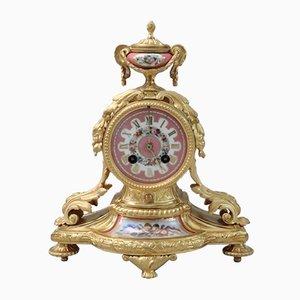 Horloge de Cheminée Napoléon III Antique en Bronze Doré et en Porcelaine de Vincenti