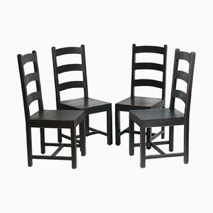 Ebonized Solid Oak Art Deco Dining Chairs, 1930s, Set of 4