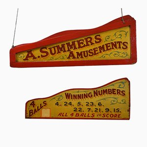 Vintage Double Sided Amusement Fairground Signs, Set of 2