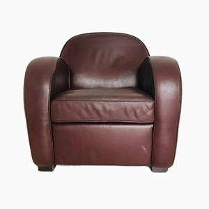 Vintage Sessel aus Leder & Holz, 1970er