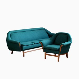 Mid-Century Emerald Green Wool Sofa and Armchair from Holm Fabriker, 1960s, Set of 2