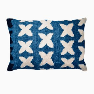 Leaf on Water Cushion in Organic Indigo by Anna Charlotte Atelier