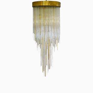 Lámpara de araña en cascada italiana de vidrio y latón, años 60