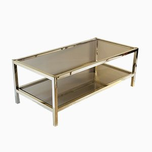 Brass and Smoked Glass Coffee Table, 1960s