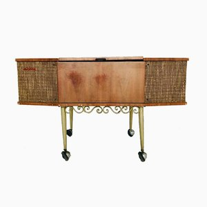 Mueble con radio y tocadiscos italiano vintage de Philips, años 40
