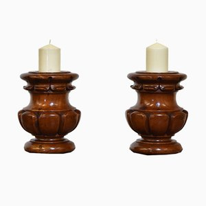 Antique Fruitwood Turned & Carved Candlesticks, Set of 2