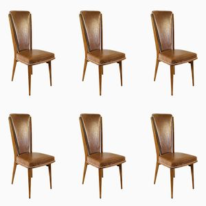 Mid-Century French Dining Chairs, 1950s, Set of 6