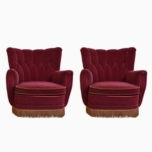 Scandinavian Velour Fringed Armchairs, 1940s, Set of 2