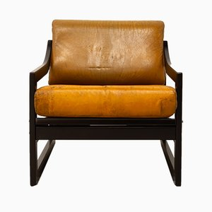 Vintage Danish Beech and Leather Armchair