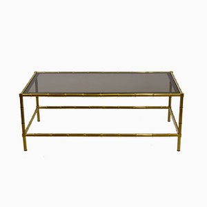 Faux Bamboo Brass Coffee Table, 1970s