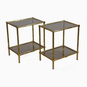 Tavolini in ottone a forma di bambù, anni '70, set di 2