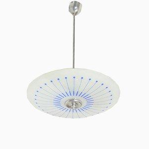 Lampada da soffitto in vetro blu chiaro, anni '60