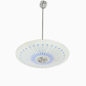 Light Blue Glass Plate Ceiling Light, 1960s