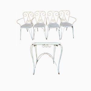 Mid-Century Gartentisch und Stühle, 1960er, 5er Set