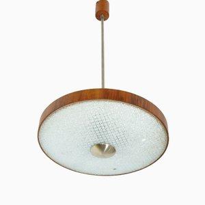 Mid-Century Deckenlampe aus Glas & Holz