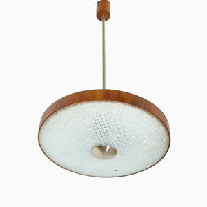 Mid-Century Glass and Wood Ceiling Light
