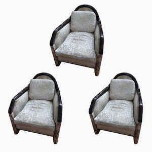 Vintage Art Deco French Club Chairs by Léon Jallot, 1930s, Set of 3
