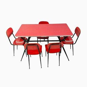 Tavolo da pranzo Mid-Century con sedie, anni '60, set di 6