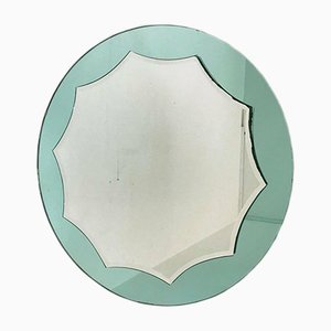 Mid-Century Aquamarine Decagon Mirror