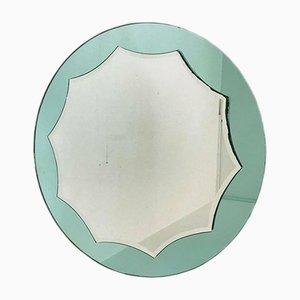 Mid-Century Decagon Spiegel in Aquamarinblau
