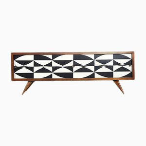 Mid-Century Scandinavian Black & White Patterned Walnut Sideboard, 1960s