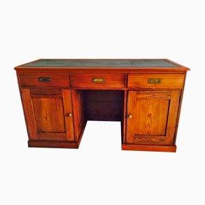 Escritorio vintage de cuero y madera