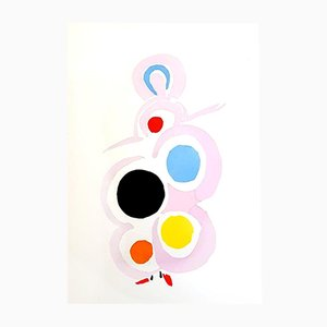 Living Painting Pochoir by Sonia Delaunay, 1969