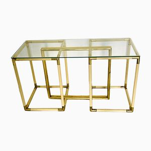 Vintage Brass & Crystal Coffee Table, 1970s