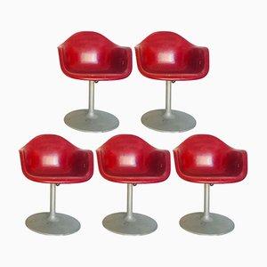 Rote Vintage Stühle, 1970er, 5er Set