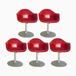 Vintage Red Chairs, 1970s, Set of 5