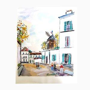 Estarcido Inspired Village Montmartre de Maurice Utrillo, 1950