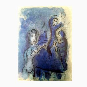 Lithographie Rahab and the Spies of Jericho par Marc Chagall, 1960s