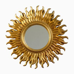 Französischer Vintage Spiegel in Sonnen-Optik, 1970er