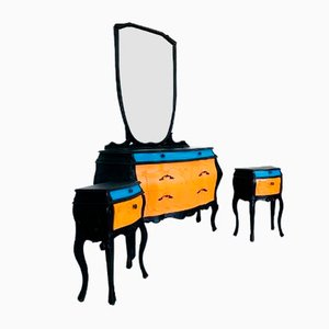 Vintage Dressing Table and 2 Nightstands, 1940s