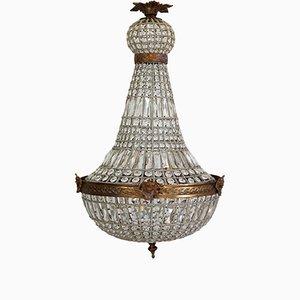Lámpara de araña vintage grande con cabezas de ángeles, años 80