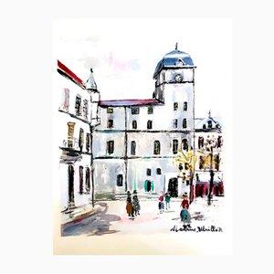 Inspired Village of Montmartre Pochoir von Maurice Utrillo, 1950
