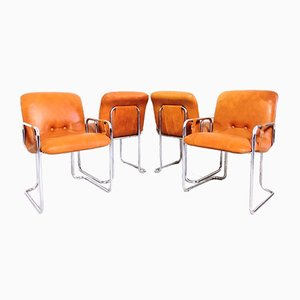 Tubular Steel Armchairs from Mobil Girgi, 1970s, Set of 4