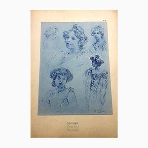 Frauenlithografie von Alphonse Mucha, 1902