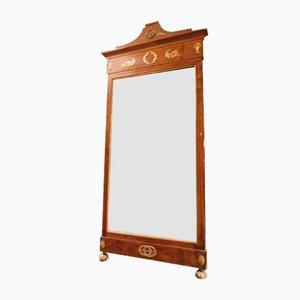 Specchio da camino antico in mogano con fregi dorati