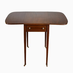 Antique Edwardian English Mahogany Inlaid Pembroke Drop-Leaf Table, 1900s