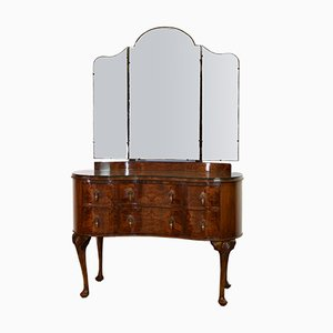 Art Deco Burr Walnut Kidney-Shaped Dressing Table with Mirror, 1930s