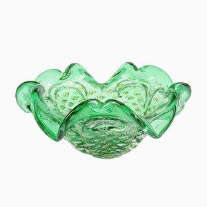 Cuenco vintage de cristal de Murano bullicante verde de Barovier & Toso, años 60