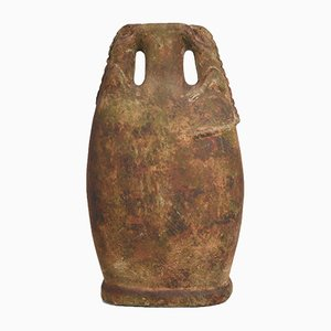 Urna in gres con manici a forma di lucertola, anni '30