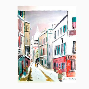 Pochoir Sacré Coeur Village de Montmartre par Maurice Utrillo, 1950