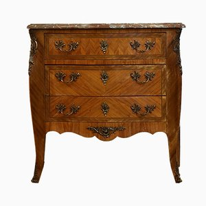 Antique Style French Tulipwood & Marble Chest of Drawers, 1920s