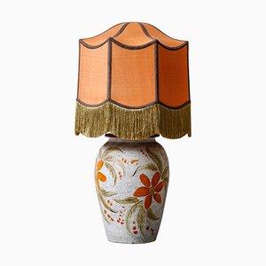 Lampe de Bureau Florale avec Abat-Jour en Soie Cousu à la Main, France, 1950s