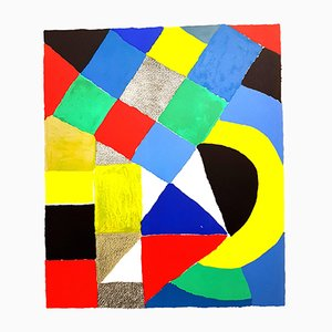 Composition Original Signed Lithograph by Sonia Delaunay, 1960s
