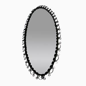 Espejo de pared vintage de metal negro, años 70