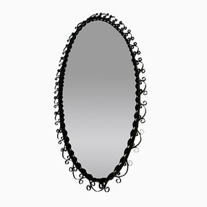 Vitnage Black Metal Wall Mirror, 1970s