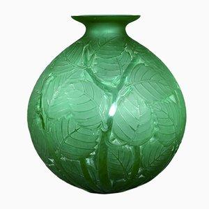 Vaso Milan in vetro verde di Rene Lalique, 1929